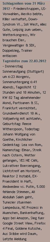 Schlagzeilen vom 21 März 2012 / Tagesinfos zum 22.03.2012 (German Headlines from 21 March 2012 / Today 's info on 22/3/2012) http://www.schoeneswetter.com