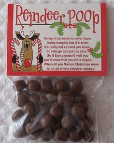 """Reindeer Poop"" use Whoppers with the cute saying"