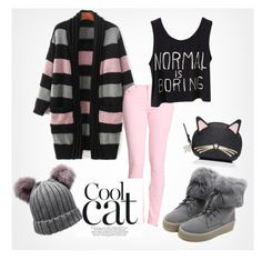 """Cool cat"" by fancy-chic ❤ liked on Polyvore featuring AG Adriano Goldschmied, WithChic and Kate Spade"