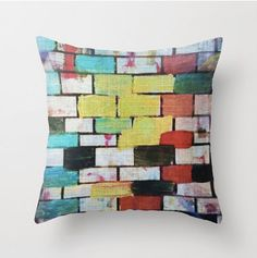 Funky pillow with insert, multiple sizes, colourful throw pillow / cushion 18 x 18 inches Double sided print With Insert included! Colorful Throw Pillows, Vintage Crafts, Craft Supplies, Buy And Sell, Cushions, Urban, Antiques, Bricks, Gallery