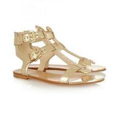 66% off Balmain - Sandals Metallic Leather Gold - $540.94 #balmain #sandals #leather
