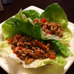 My healthy chicken lettuce wraps! Only 298 calories for 3 :)