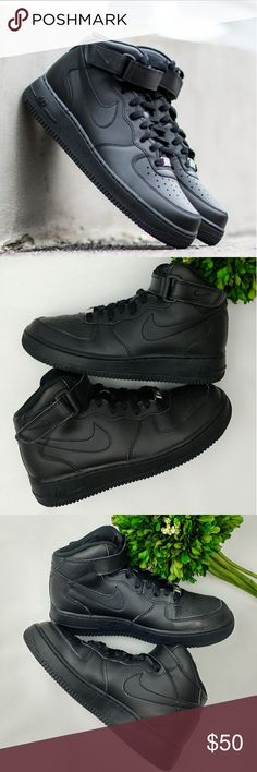 Nike Air Force 1 Mid GS Grade School 6Y Nike Air Force 1 Mid GS Grade School Black Shoes Washed and sanitized. Minor scuffs In good condition Size 6Y 24 cm Nike Shoes Sneakers
