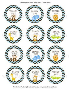 Safari Jungle Baby Boy Shower Birthday by flutteringcreations, $5.00 - Adorable Chevron Thank You Favor Tags ~ Instant Download