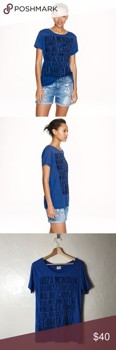 Sundry /J. Crew Destinations Tee ☀️ A Style Road Trip Favorite! Sundry /J. Crew Destinations Tee ☀️ Everywhere that's anywhere is on this top! Big fan of Tulum, here 🙋🏻 This color blue looks good on everyone! Size Small. J. Crew Tops Tees - Short Sleeve