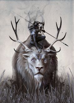 Displate Poster A Boy and his Beast beast #animal #lion #antlers #spirit #feral #wild #hunter #boy #child #spear #hunting #grasslands #ghost #demon #childhood