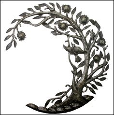 """Curved Bird and Tree Metal Wall Hanging- Haitian Steel Drum Sculpture - 24"""" ... Found at www.haitimetalart.com"""