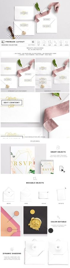 Wedding Invite & Envelope Mockup by Custom Scene on @creativemarket