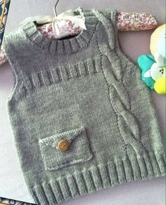 57 Ideas for knitting baby vest boys Knit Baby Sweaters, Knitted Baby Clothes, Boys Sweaters, Crochet Clothes, Knitting For Kids, Baby Knitting Patterns, Baby Patterns, Crochet For Kids, Baby Boy Cardigan
