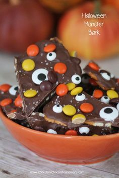 Salted Halloween Monster Bark-Chocolate Candy Bark and pretzels decorated with Reeses Pieces, Monster Eyes and sprinkled with a little Sea Salt.