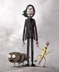 New fan art transforms Keanu Reeves' cold-blooded cinematic anti-hero John Wick into a character from the animated Rick & Morty multiverse. Rick And Morty Image, Rick I Morty, Rick And Morty Quotes, Rick And Morty Poster, Ps Wallpaper, Cartoon Wallpaper, Rick And Morty Crossover, Rick And Morty Drawing, John Wick Movie