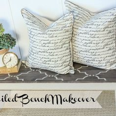 Painted and Stenciled Bench Makeover