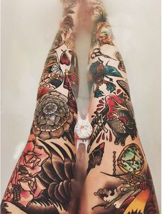 Old school tattoo legs