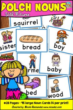 This is a set of 95 Dolch Noun spelling cards that are perfect for reading lessons including word work, creative writing, spelling, sorting and classification.