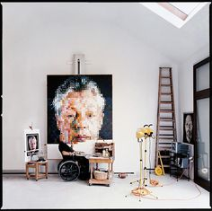 Chuck Close in his Sagaponack, New York Studio by William Waldron.