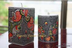 Rajasthani style Marble art on Pillar candles. Fully covered by the design. Available in square and cylinder shapes