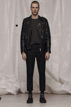 AllSaints Men's January Lookbook Look 1: Volt Leather Biker Jacket, Teardrop Crew T-shirt, Carlow Trouser, Moth Boot.