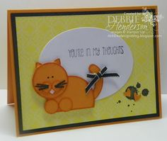 Punch Art Kitty Cat using Stampin' Up! products by Debbie Henderson, Debbie's Designs.