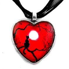 Black Cat in Red Valentine Heart Pendant Handmade Jewelry Laura Milnor Iverson http://www.amazon.com/dp/B00B1UB732/ref=cm_sw_r_pi_dp_WDX0vb1Y9M34W