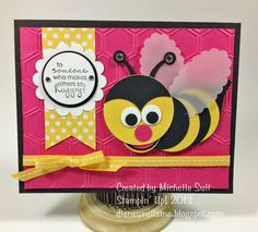 "Meet my latest punch art critter....  ""Baxter the Bee""  Michelle Suit-Stampin' Up! Demo  Punches used: (All are Stampin' Up!)  Head: 1 3/4"" circle, Body: 4 ea. 1 3/8"" circles, Tail: Blossom Builder, Eyes: (white) 1/2"" circle, (black) Owl Builder, Nose: Owl Builder, Mouth: 1"" circle, Wings: Scallop Oval, Antennae: Owl Builder and scraps. To purchase punches go to: stampinsuitsme.stampinup.net  Have fun and thanks for ""buzzin' by""!  :-)"