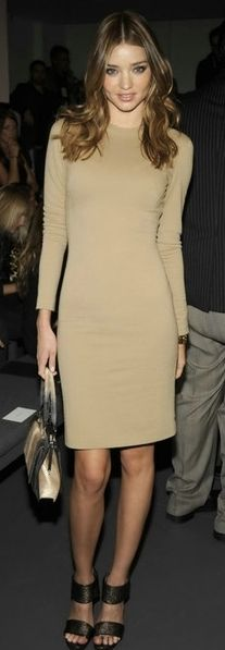 Miranda Kerr- classic camel shift so simple so chic perfect for the unexpected dinner invite