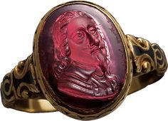 ALBION ART Historical Jewelry - Ancient Gold, garnet, enamel ring, c.1649 and later, Made in UK, Private Collection.