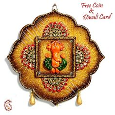 Lotus Leaf Rustic finish Ganesh Wall Art in wood - Online Shopping for Diwali Pooja Accessories by Apno Rajasthan Mural Painting, Mural Art, Ceramic Painting, Ceramic Art, Murals, Paintings, Diwali Craft, Diwali Gifts, Clay Art Projects
