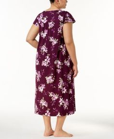 Charter Club Plus Size Cotton Lace-Trim Nightgown, Created for Macy's - Purple 3X