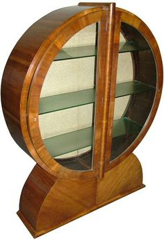 Stunning 1930s art deco iconic shaped curio cabinet.