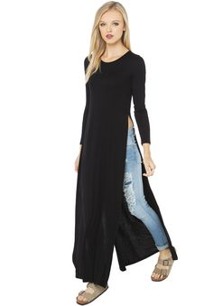Black Long Sleeve Side Split Maxi Dress 21.19