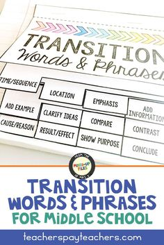 Use this flip book as a mini anchor chart in your middle school students' interactive notebooks to build fluency and develop use of strong sophisticated transition words and phrases. Each page includes a list of ideas for a particular purpose to encourage more variety in sentences and paragraphs. After you teach a lesson in the classroom, your kids can refer to their own graphic organizers as they write essays. This product is based on Common Core language arts standards. #teaching…