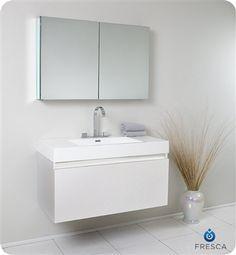 Fresca Mezzo White Modern Bathroom Vanity w/ Blum Storage System