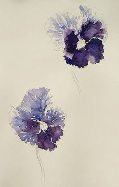 Pansy I Chisako Fukuyama I Pencil drawing and Watercolor Watercolor Artwork, Watercolor And Ink, Watercolor Flowers, Botanical Art, Botanical Illustration, Pansies, Painting Inspiration, New Art, Flower Art
