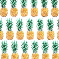 I like how one watercolor art can turn into many type of design, like this pattern. I will post the single pineapple asap. #pineapple #patte...