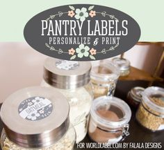 Free printable Pantry labels and Spice jar labels. Personalize and Print design by @Ana G. Feliciano