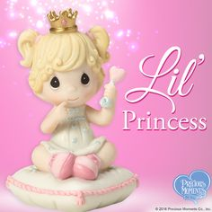 Of course she wears a dainty crown and shakes her royal rattles – she's a princess and she knows it! Send this sweet gift from our new Lil' Royalty collection to a mom-to-be or to welcome a new baby home; looks absolutely adorable in a nursery.   #PreciousMoments #LifesPreciousMoments #BabyGirl #LilPrincess #Baby