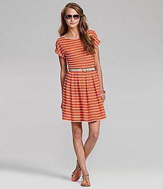 Chelsea and Violet Striped Belted Dress #Dillards