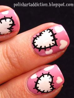Valentine's Day Nail Art  --   Patchwork Hearts Nails:       We think Hello Kitty would approve of these adorable stitched hearts, executed by Polish Art Addiction using pink lacquer and acrylic paints in black and white.