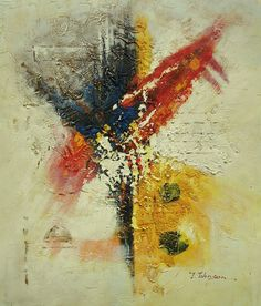 "art-ny-art - Oil Painting of Abstract Red Blue Yellow Great Texture Nice Color 20x24"" Canvas #Impressionism"