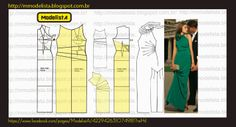 Illustration for altering a standard sheath dress pattern to get this lovely dress.