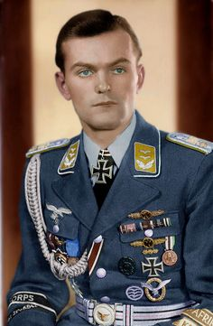 Oberleutnant Rudi Wolfmüller of the Afrika Korps Luftwaffe contingent, in full dress uniform (ca. 1943, colorized). There is a recurring controversy over whether he was legitimately awarded the Knight's Cross.