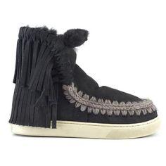 Mou Eskimo Sneaker With Fringes Off Black - MOU #mou #fashion #newshoes #women #streetstyle