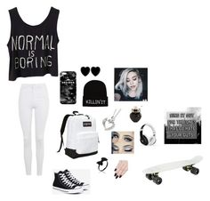 """""""black n white😝"""" by pandabearcc ❤ liked on Polyvore featuring Topshop, Converse, JanSport, Mr. Gugu & Miss Go, Dollydagger, Aéropostale, ncLA and Beats by Dr. Dre"""