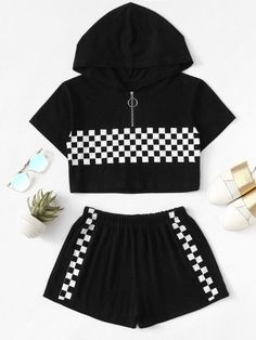Gingham Zip Up Hooded Top With Shorts -SheIn(Sheinside) – - Moda Cute Lazy Outfits, Crop Top Outfits, Sporty Outfits, Swag Outfits, Pretty Outfits, Stylish Outfits, Girls Fashion Clothes, Teen Fashion Outfits, Fashion Shorts