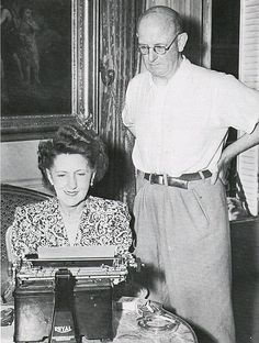 P.G. Wodehouse and wife Ethel in Paris in 1945 with the Royal typewriter that replaced the Monarch - from The Russian Wodehouse Society