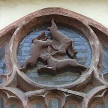 Paderborn Cathedral - The Three Hares - this image has been traced from Christian churches in the UK right back to the silk road of china - possibly first depicted in the middle east being reimported centuries later - The ears from a triangle at the centre of the circle and ea is shared by two of the hares.