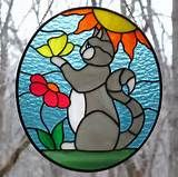 Stained Glass Cat Face Suncatcher