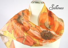 Orange Scarf  Floral Scarf Bright Scarf.  Floral by silkiness