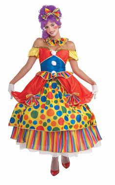 Women's Big Top Clown Costume - Calgary, Alberta. Big Top Clown is great for kids parties, making balloons, family theme costumes, Halloween and festivals. You'll be the hit of your kids birthday in this hoop dress clown costume.  This clown costume includes a dress with a hoop skirt. The body is a nylon like material with a little stretch. The puff sleeves fall off the shoulder and the dress has clear shoulder straps. The skirt is made of several multi-coloured layers.