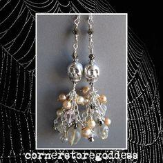 Elegant Halloween Skull Earrings by by cornerstoregoddess on Etsy, $75.00